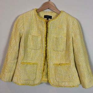 Talbots Yellow Tweed Cropped Blazer 6P